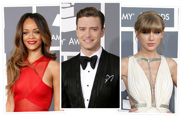 Rihanna, Justin Timberlake and Taylor Swift
