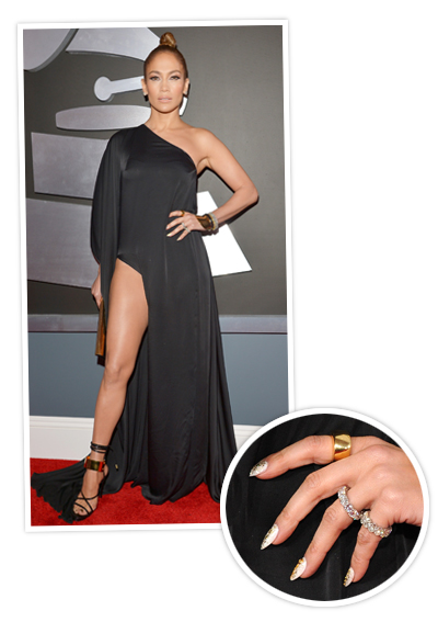 Jennifer Lopez 2013 Crazy Manicures At The Grammys