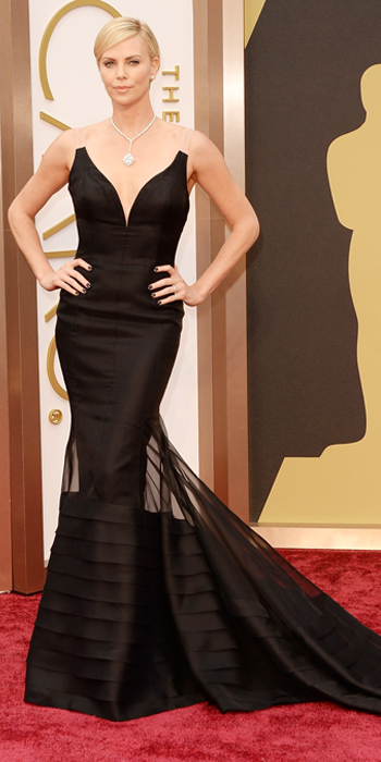 Oscars 2014 - Charlize Theron in Dior with Harry Winston jewels