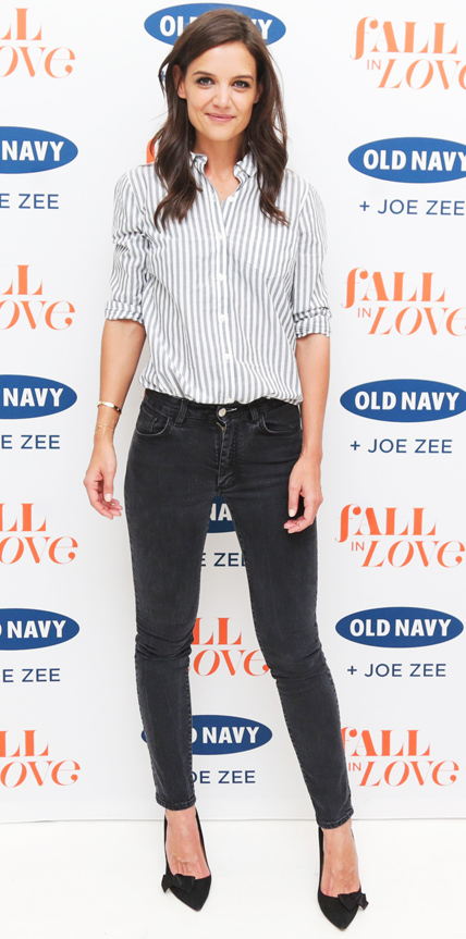 Katie Holmes in Old Navy and Acne