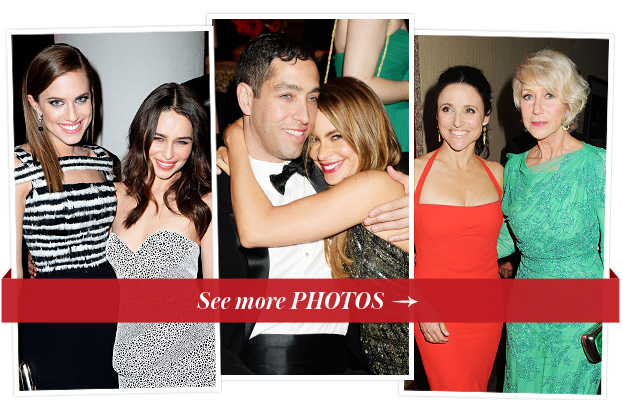 Allison Williams, Emilia Clarke, Nick Loeb and Sofia Vergara, Julia Louis-Dreyfus and Helen Mirren