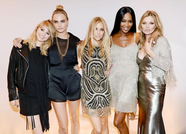 Suki Waterhouse, Cara Delevingne, Sienna Miller, Naomi Campbell, Kate Moss