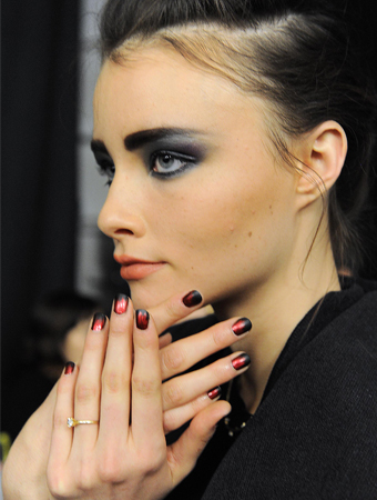 Nicole Miller - Fashion Week - Red and Black Nails