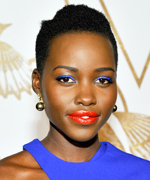 Lupita Nyong'o Beauty Red Lips Blue Shadow