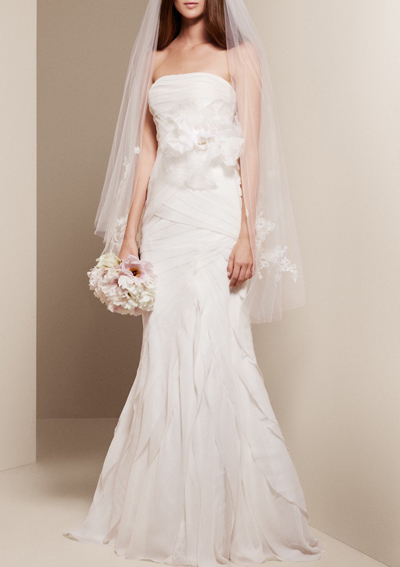 White by vera wang for david 39 s bridal 10 affordable for Affordable vera wang wedding dresses
