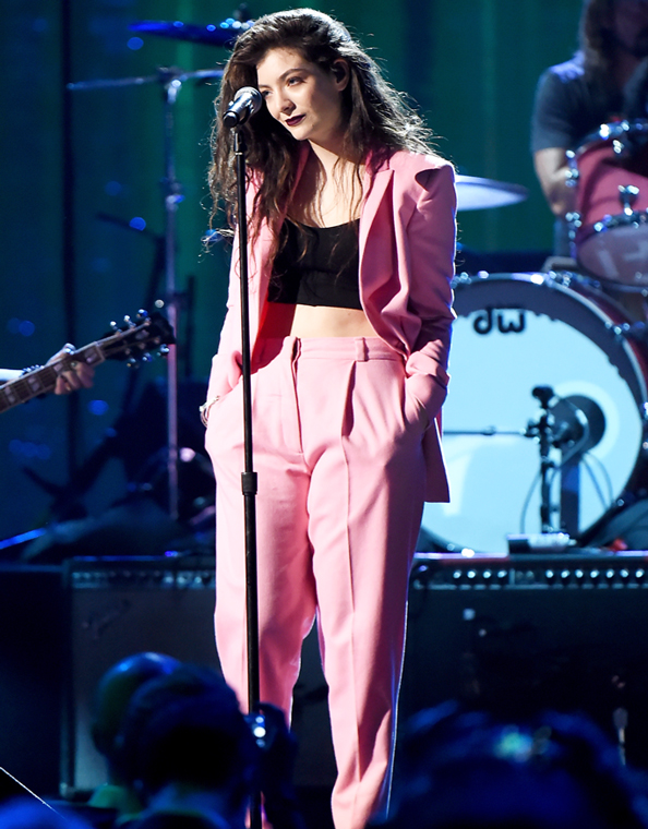Lorde in Pink Suit