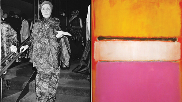 Madame Grès and a Mark Rothko painting.