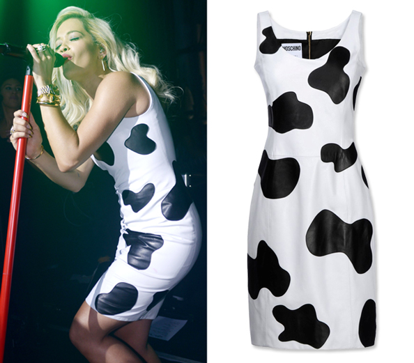 Rita Ora wears Moschino cow prints