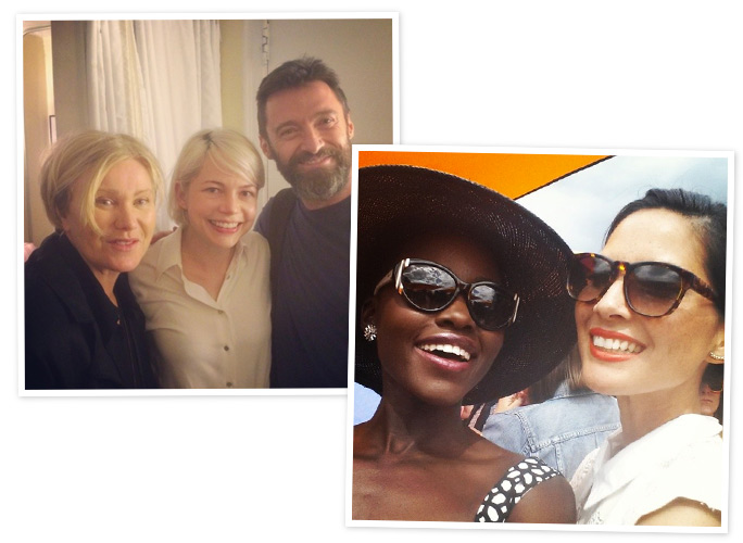 Hugh Jackman and Lupita Nyong'o on Instagram.