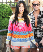 Kourtney Kardashian in Mara Hoffman and Blaque Label