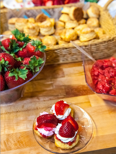 Strawberry shortcakes ready to serve