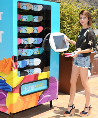 Emma Roberts at Old Navy Flip Flop Vending Machine