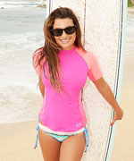 Lea Michele in Rash Guard Bikini