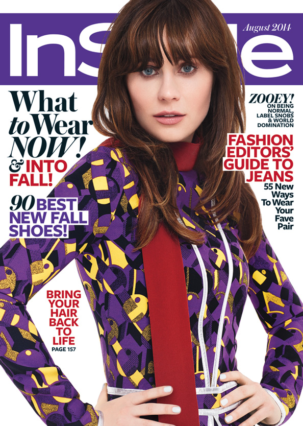 Zooey Deschanel in InStyle's August Issue