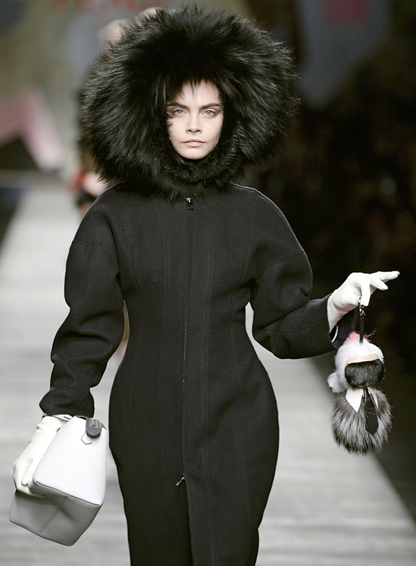 Cara Delvingne for Fendi with Karlito Doll