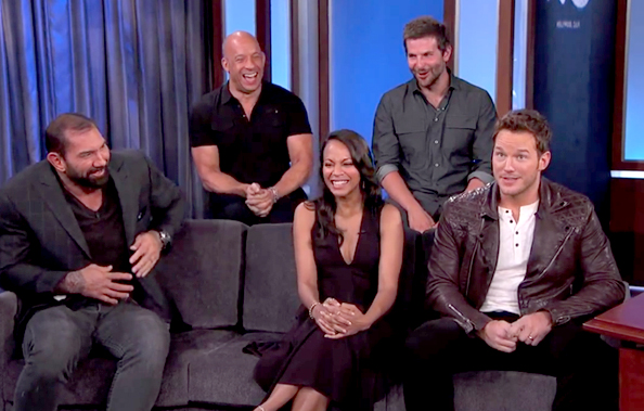 Zoe saldana and the guardians of the galaxy cast take on a 5 year old