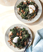 Poached egg, kale, rye, tahini, and yogurt summer salad