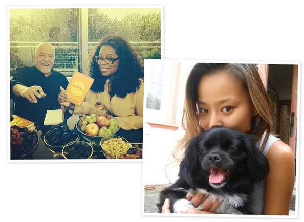 Oprah visits Geneva and Jamie Chung with a dog.