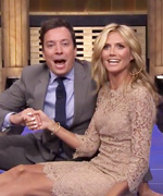 Heidi Klum rolls with Jimmy Fallon.