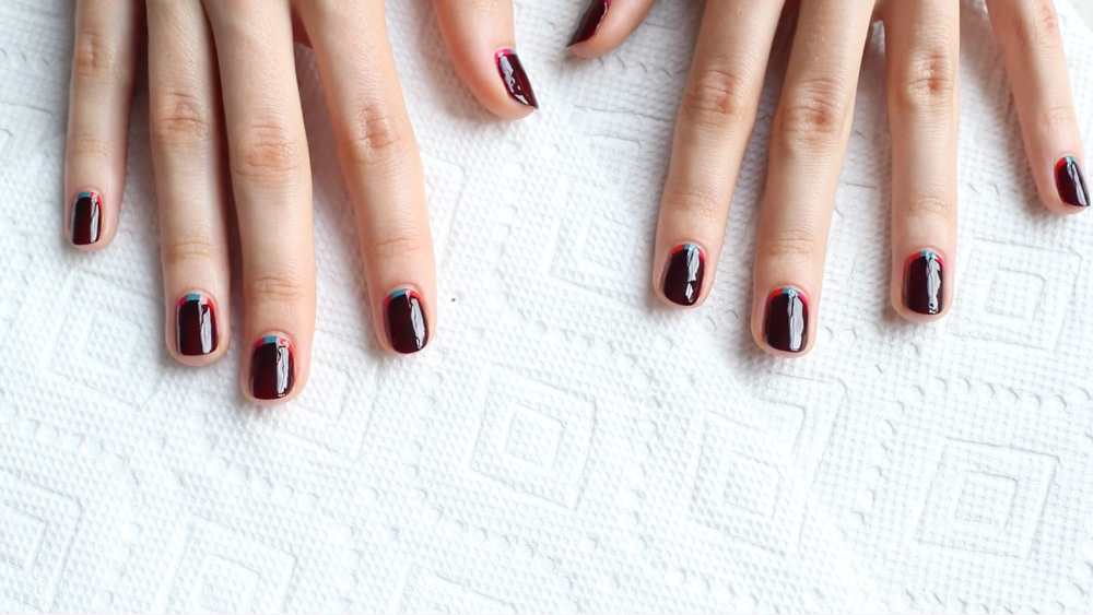 Nail the Look: Madeline Poole's Peekaboo Colorblock Manicure
