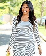 Kourtney Kardashian in Horizontal Striped Dress
