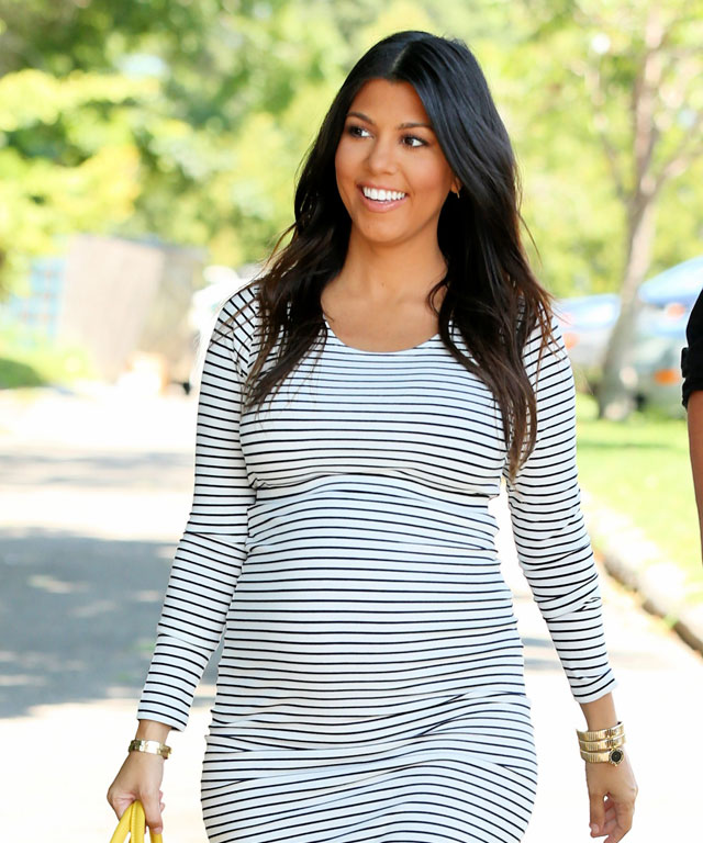 Kourtney Kardashian in Horizontal Striped Dress