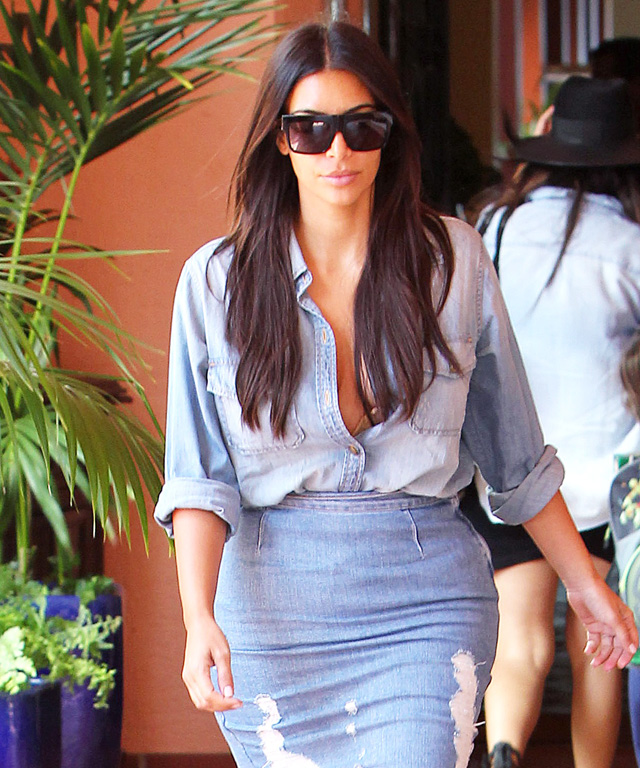Kim Kardashian and Beyonce in Frame Denim Pencil Skirt