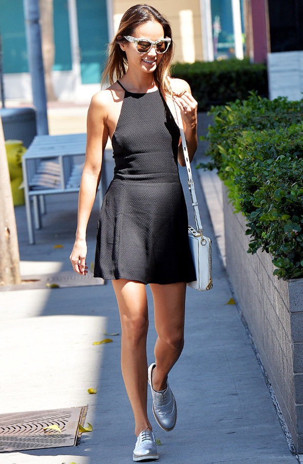 Jamie Chung in Silver Oxfords