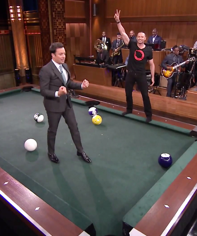 Hugh Jackman plays giant pool with Jimmy Fallon.