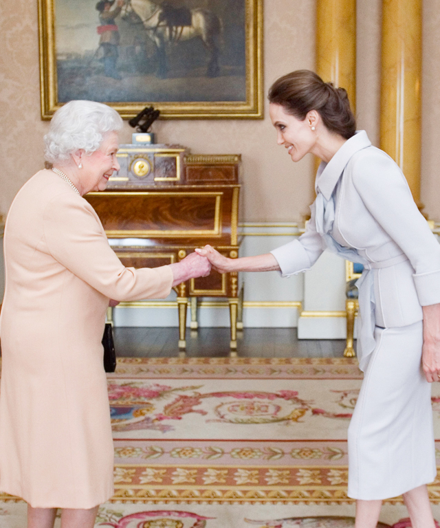 Queen Elizabeth II and Angelina Jolie
