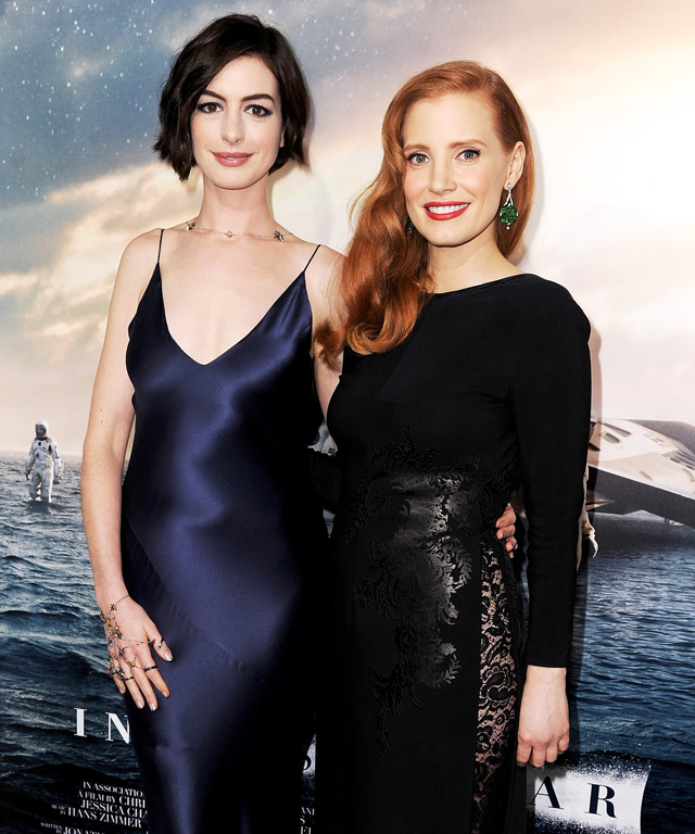 Anne Hathaway and Jessica Chastain at Interstellar Premiere