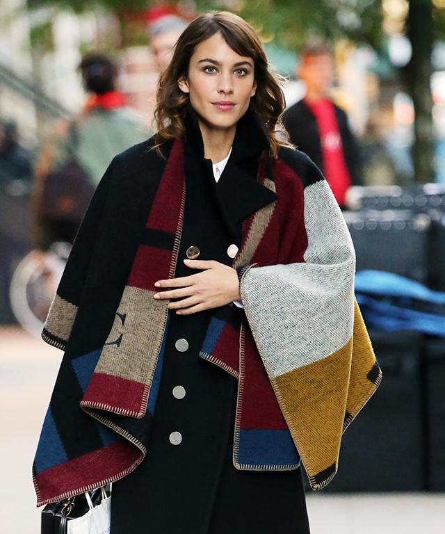 Alexa Chung in Burberry Blanket Poncho