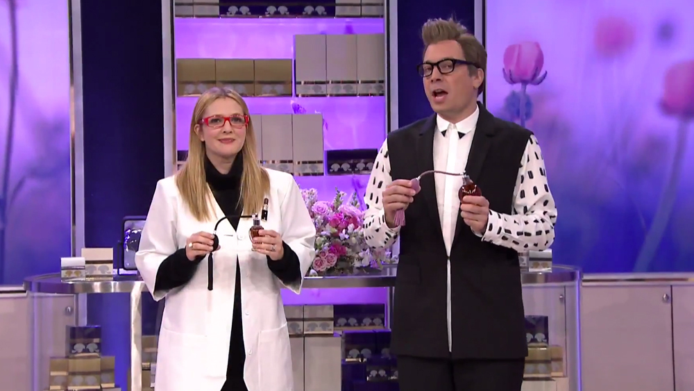 "Drew Barrymore and Jimmy Fallon Ask ""Wanna Spritz""? 