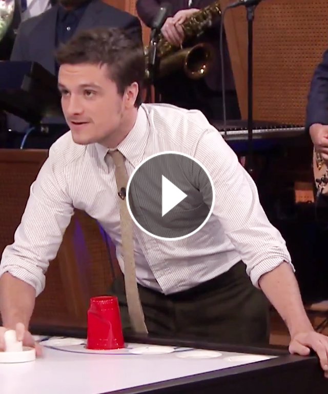 Josh Hutcherson plays Beer Hockey with Jimmy Fallon