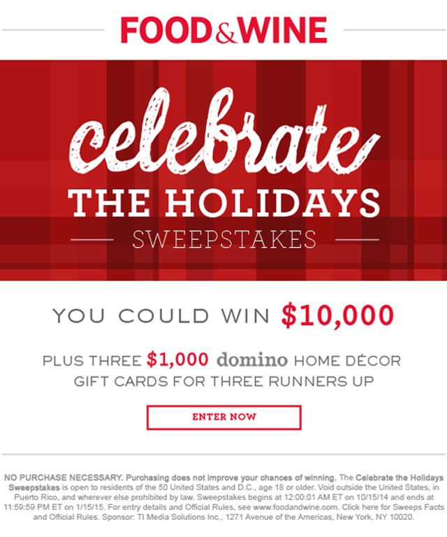 Celebrate the Holidays Sweepstakes