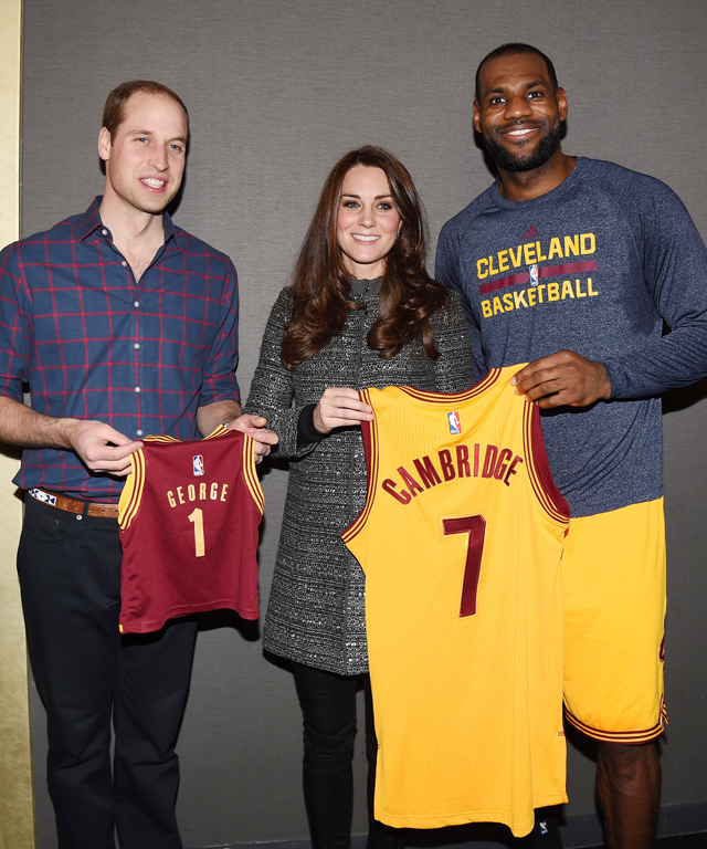 Prince William, Kate Middleton, and LeBron James at Nets Basketball Game