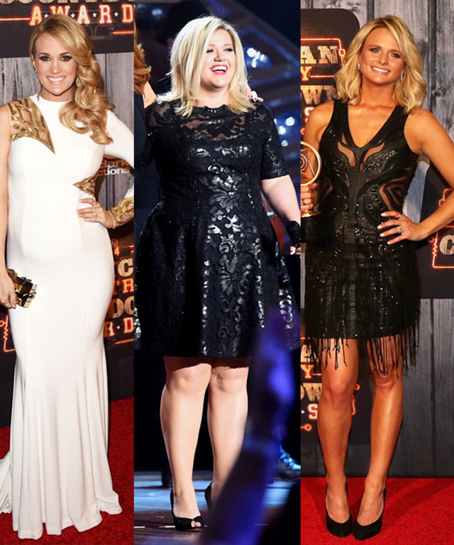 Carrie Underwood, Kelly Clarkson, and Miranda Lambert in cute dresses