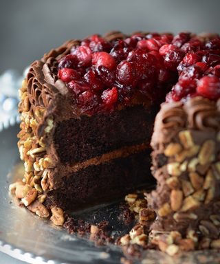 glazed cranberry chocolate cake from The Newlywed Cookbook