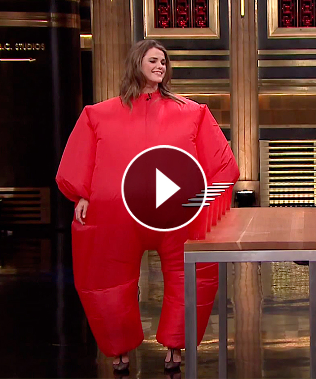 Keri Russell Inflatable Flip Cup Tonight Show