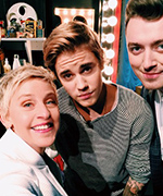 Ellen DeGeneres, Kanye West, and Justin Bieber