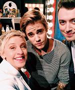 Ellen DeGeneres, Kanye West, and Justin Bieber