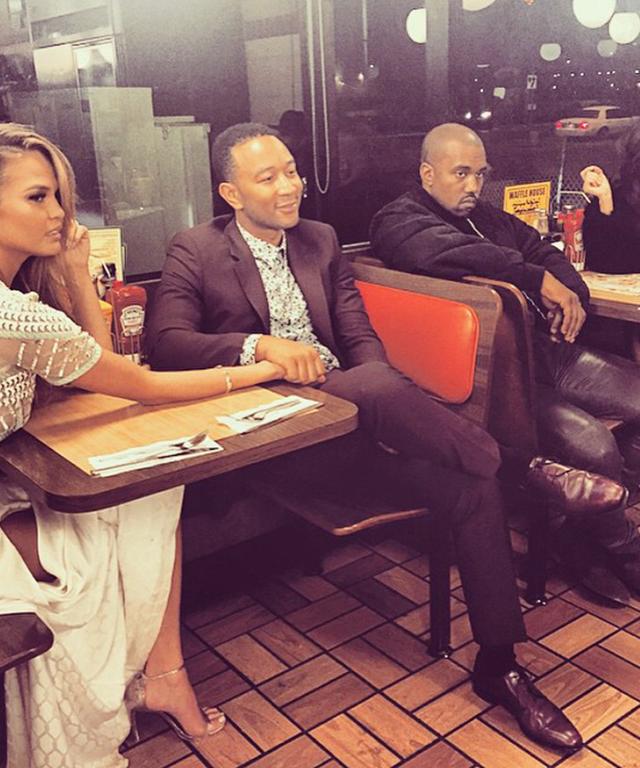 Chrissy Teigen, John Legend, Kanye West, Kim Kardashian at Waffle House