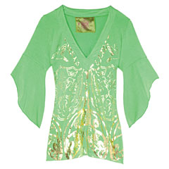 Painted V-neck jersey blouse, Lure