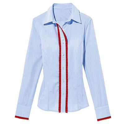 Cotton shirt with grosgrain trim, Rebecca & Drew
