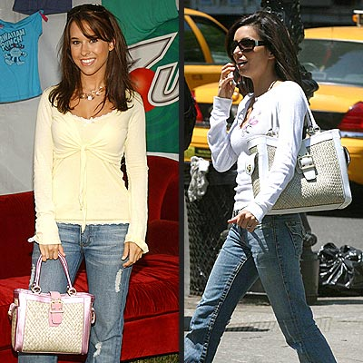TWO-TONED STRAW BAGS photo | Eva Longoria, Lacey Chabert