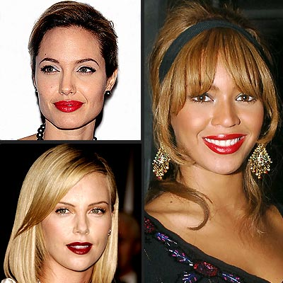 TREND: RED LIPS  photo | Angelina Jolie, Beyonce Knowles, Charlize Theron