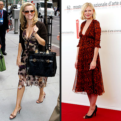 TREND: PRINTED DRESSES photo | Kirsten Dunst, Reese Witherspoon