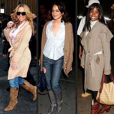 TREND: OVERSIZED CARDIGAN photo | Kelly Rowland, Lindsay Lohan, Mariah Carey