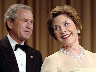 Laura Bush's Comic Routine Stops the Show