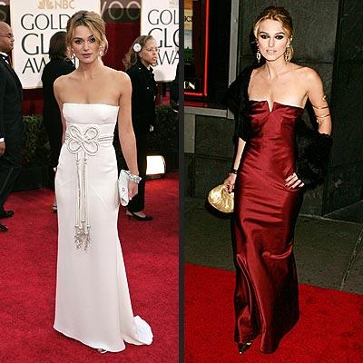 Keira Knightley - dark plum Vera Wang one shouldered dress: Oscars (2006).